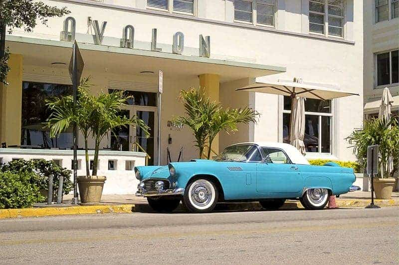 Rent a Car in Miami - a blue classic car.