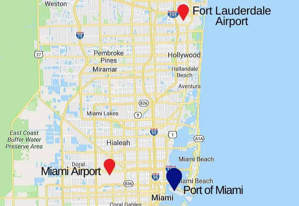 Fort Lauderdale Airport to Miami Map