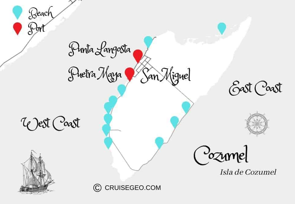 Map of Cozumel with Cozumel Best Beach