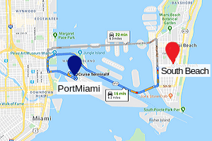 Going to South Beach by a rental car from the Port of Miami on Map