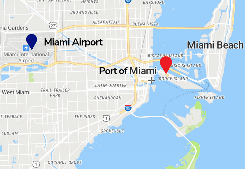 Miami Airport and Miami Cruise Port Map