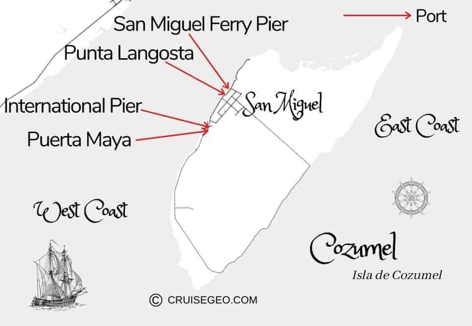 Cozumel Cruise Port Map