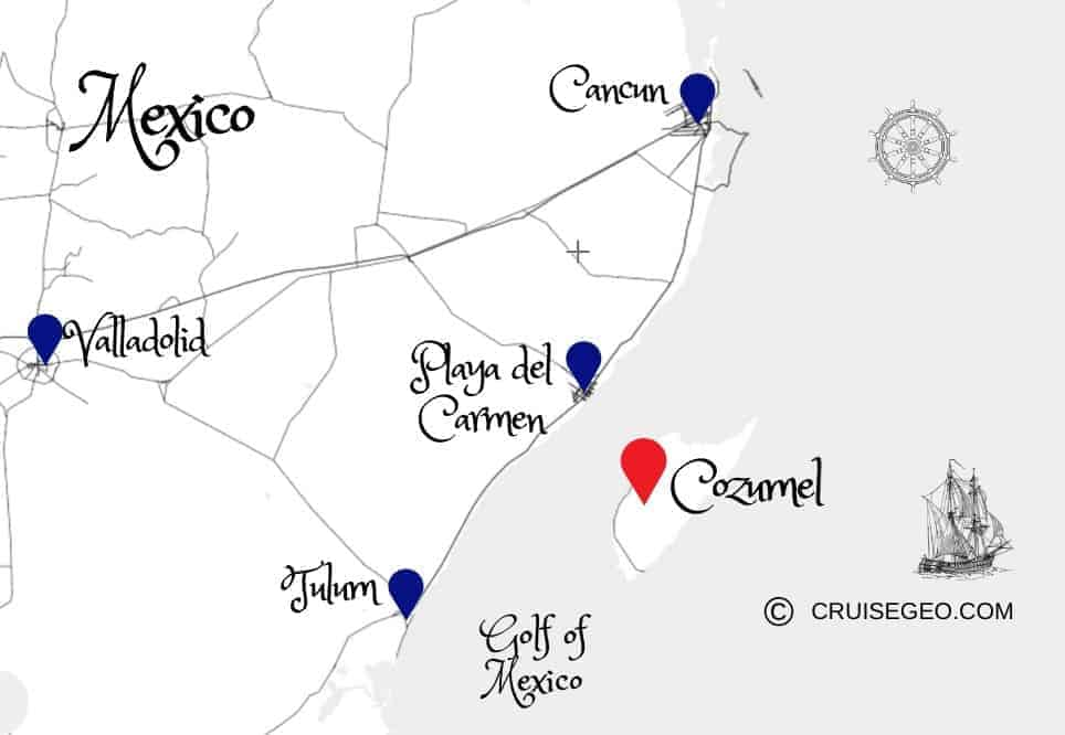 Map of Cozumel and Surrounded Areas