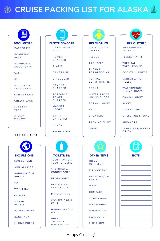 Alaska Cruise Packing List Sheet